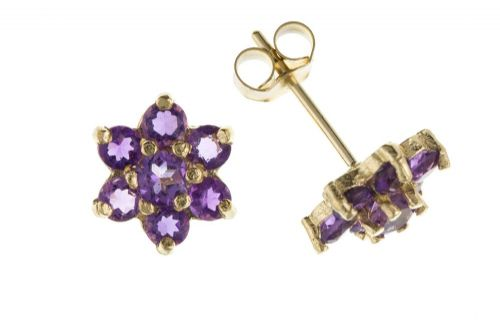 Yellow Gold Amethyst Cluster Stud Earrings